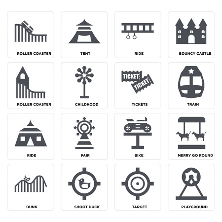 Set Of 16 icons such as Playground, Target, Shoot duck, DUNK, Merry go round, Roller coaster, Ride, Tickets on transparent background, pixel perfect Illustration