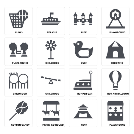 Set Of 16 icons such as Playground, Tent, Merry go round, Cotton candy, Hot air balloon, Punch, Childhood, Duck on transparent background, pixel perfect Illustration