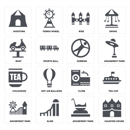 Set Of 16 icons such as Haunted house, Amusement park, Slide, Tea cup, Shooting, Boat, Childhood, Zorbing on transparent background, pixel perfect