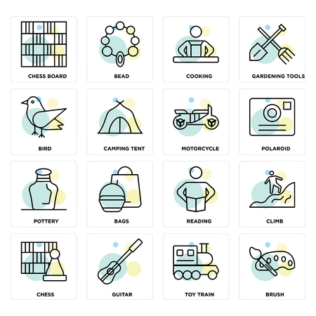 Set Of 16 icons such as Brush, Toy train, Guitar, Chess, Climb, Chess board, Bird, Pottery, Motorcycle on transparent background, pixel perfect Illustration