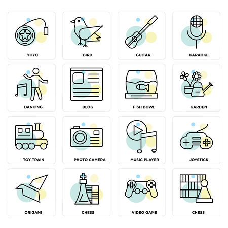 Set Of 16 icons such as Chess, Video game, Origami, Joystick, Yoyo, Dancing, Toy train, Fish bowl on transparent background, pixel perfect Illustration