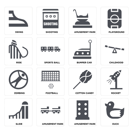 Set Of 16 icons such as Duck, Amusement park, Slide, Rocket, Swing, Ride, Zorbing, Bumper car on transparent background, pixel perfect