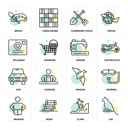 Set Of 16 icons such as Cat, Climb, Book, Reading, Snorkel, Brush, Polaroid, Car, Sewing on transparent background, pixel perfect