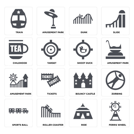 Set Of 16 icons such as Ferris wheel, Ride, Roller coaster, Sports ball, Zorbing, Train, Childhood, Amusement park, Shoot duck on transparent background, pixel perfect Illustration
