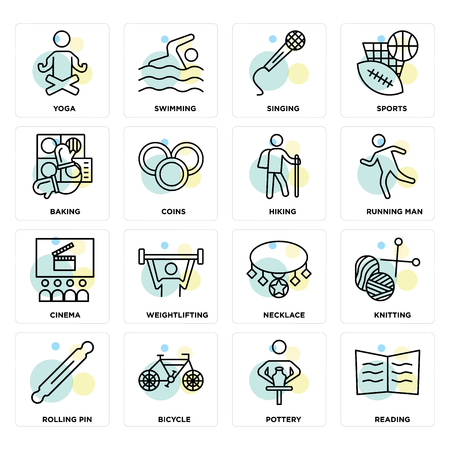 Set Of 16 icons such as Reading, Pottery, Bicycle, Rolling pin, Knitting, Yoga, Baking, Cinema, Hiking on transparent background, pixel perfect