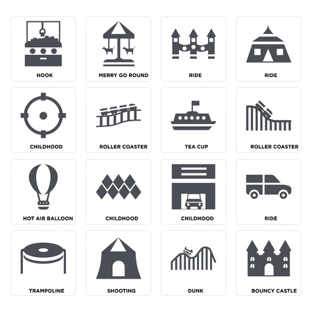 Set Of 16 icons such as Bouncy castle, DUNK, Shooting, Trampoline, Ride, Hook, Childhood, Hot air balloon, Tea cup on transparent background, pixel perfect