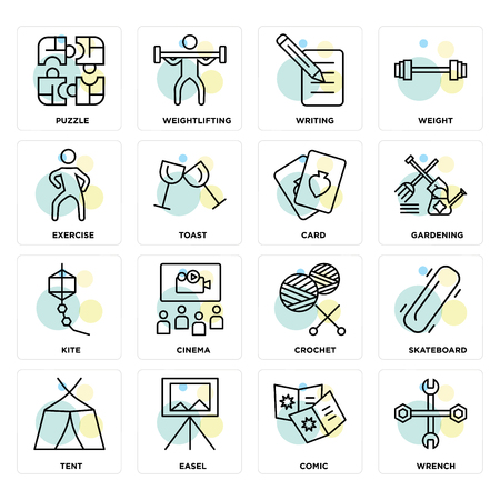 Set Of 16 icons such as Wrench, Comic, Easel, Tent, Skateboard, Puzzle, Exercise, Kite, Card on transparent background, pixel perfect