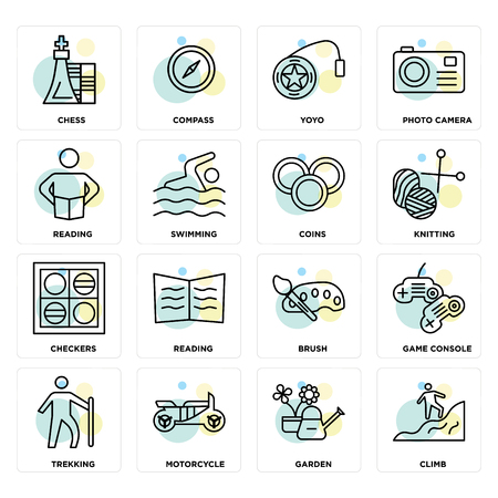 Set Of 16 icons such as Climb, Garden, Motorcycle, Trekking, Game console, Chess, Reading, Checkers, Coins on transparent background, pixel perfect 일러스트
