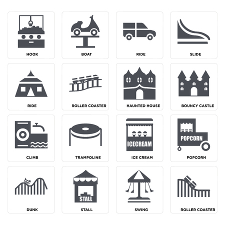 Set Of 16 icons such as Roller coaster, Swing, Stall, DUNK, Popcorn, Hook, Ride, Climb, Haunted house on transparent background, pixel perfect Stock Vector - 106093844