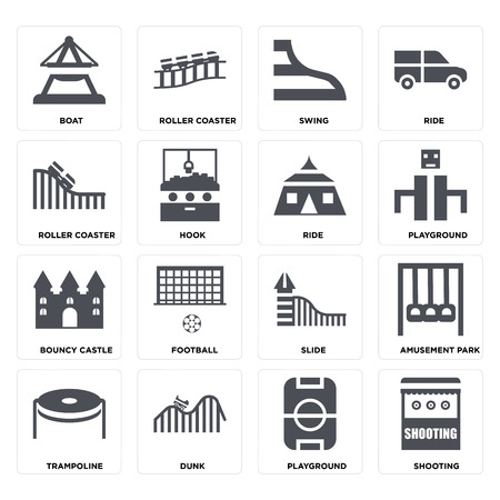 Set Of 16 icons such as Shooting, Playground, DUNK, Trampoline, Amusement park, Boat, Roller coaster, Bouncy castle, Ride on transparent background, pixel perfect Illustration
