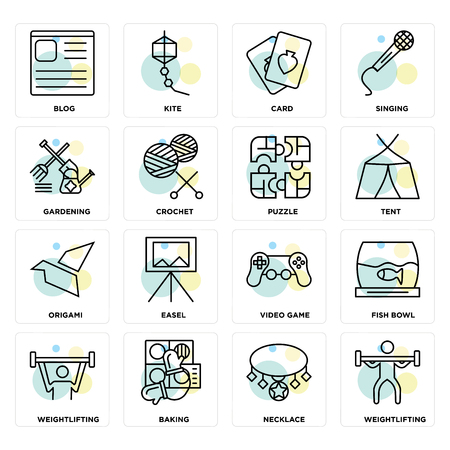 Set Of 16 icons such as Weightlifting, Necklace, Baking, Fish bowl, Blog, Gardening, Origami, Puzzle on transparent background, pixel perfect