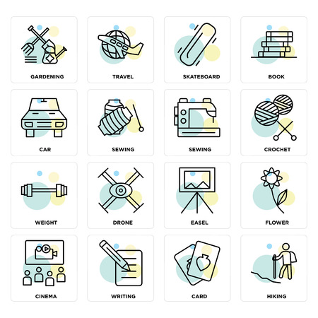 Set Of 16 icons such as Hiking, Card, Writing, Cinema, Flower, Gardening, Car, Weight, Sewing on transparent background, pixel perfect