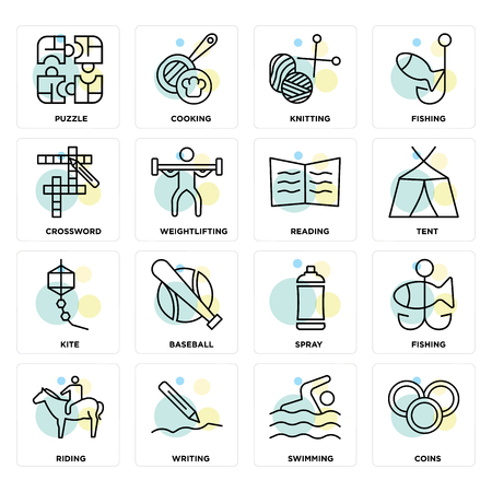 Set Of 16 icons such as Coins, Swimming, Writing, Riding, Fishing, Puzzle, Crossword, Kite, Reading on transparent background, pixel perfect Illustration