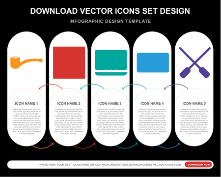 5 vector icons such as Accesory, Picture, Laptop, Cassette, Oar for infographic, layout, annual report, pixel perfect icon