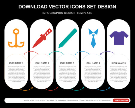 5 vector icons such as Navy, Dagger, Pencil, Tie, Shirt for infographic, layout, annual report, pixel perfect icon