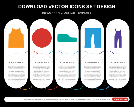 5 vector icons such as Clothing, Buttons, Footwear, Dungarees for infographic, layout, annual report, pixel perfect icon