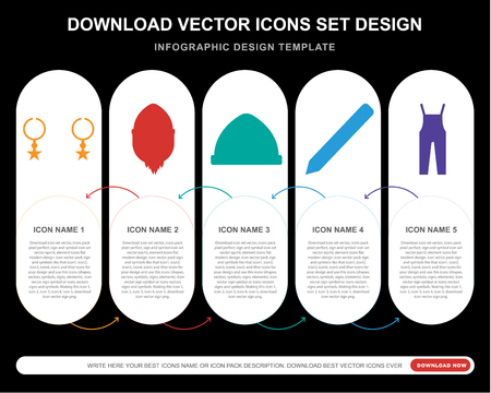 5 vector icons such as Accessory, Hipster, Pencil, Dungarees for infographic, layout, annual report, pixel perfect icon