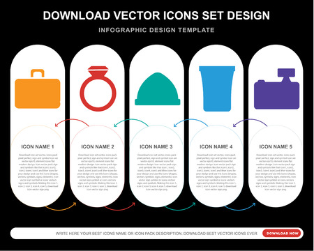 5 vector icons such as Briefcase, Accesory, Accessory, Coffee cup, Photo camera for infographic, layout, annual report, pixel perfect icon