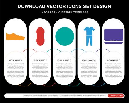 5 iconos vectoriales como zapatillas, patineta, jardín, ropa, portátil para infografía, diseño, informe anual, icono perfecto de píxeles