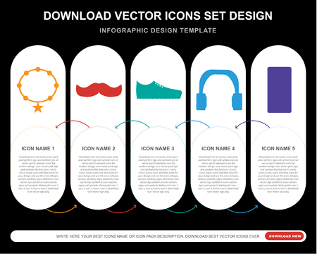 5 vector icons such as Accesory, Mustache, Sneakers, Headphones, for infographic, layout, annual report, pixel perfect icon Vectores