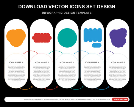 5 vector icons such as Vinyl, Hot dog, Wig, Punch, Bodyguard for infographic, layout, annual report, pixel perfect icon