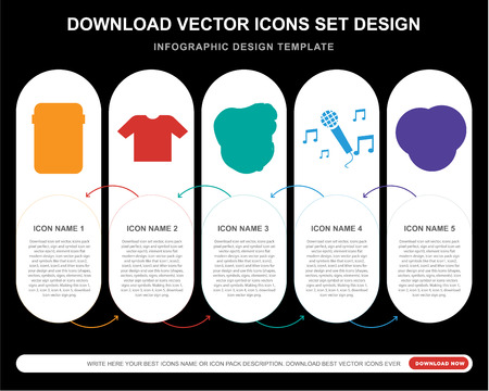 5 vector icons such as Guitar pedal, Shirt, Bodyguard, Sing, Vinyl for infographic, layout, annual report, pixel perfect icon