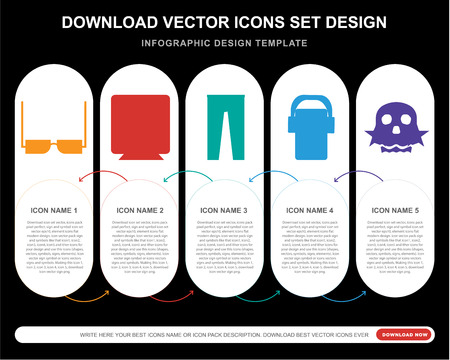 5 vector icons such as Eyeglasses, Speaker, Leather, Mp3, Skull for infographic, layout, annual report, pixel perfect icon