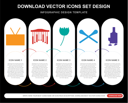 5 vector icons such as Radio, Chimes, Rose, Drumsticks, Whisky for infographic, layout, annual report, pixel perfect icon