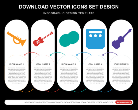 5 vector icons such as Trumpet, Guitar, Cymbals, Amplifier, Cello for infographic, layout, annual report, pixel perfect icon