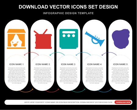 5 vector icons such as Stage, Drum, Amplifier, Trumpet, Bodyguard for infographic, layout, annual report, pixel perfect icon Illustration