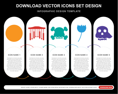 5 vector icons such as Piano, Chimes, Skull, Rose, Skull for infographic, layout, annual report, pixel perfect icon