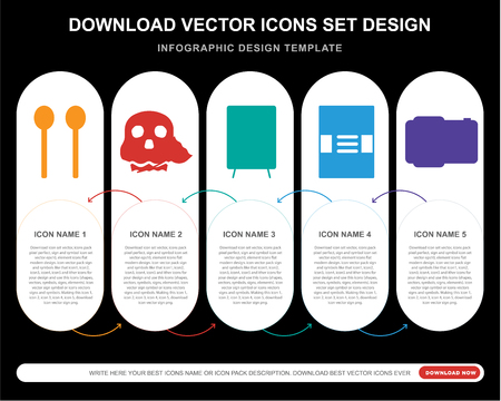 5 vector icons such as Maracas, Skull, Speaker, Event poster, Photo camera for infographic, layout, annual report, pixel perfect icon