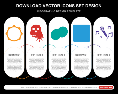 5 vector icons such as Tambourine, Lighting, Cymbals, Turntable, Sing for infographic, layout, annual report, pixel perfect icon Illustration