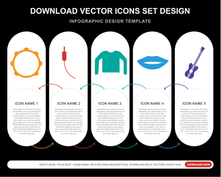 5 vector icons such as Tambourine, Audio jack, Leather jacket, Mouth, Bass guitar for infographic, layout, annual report, pixel perfect icon