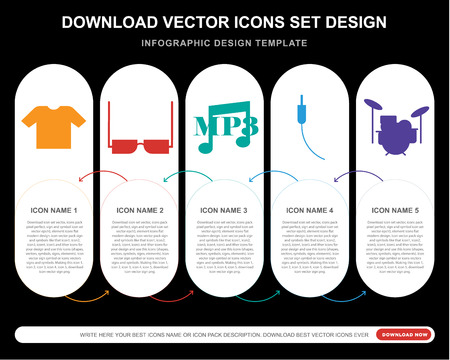 5 vector icons such as Shirt, Eyeglasses, Mp3, Audio jack, Drum set for infographic, layout, annual report, pixel perfect icon Illustration