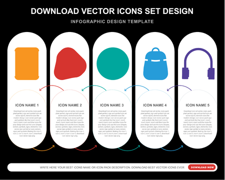 5 vector icons such as Beer can, Guitar pick, Equalizer, Backpack, Headphone for infographic, layout, annual report, pixel perfect icon