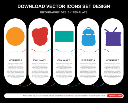 5 vector icons such as Equalizer, Bodyguard, Cassette tape, Backpack, Drum for infographic, layout, annual report, pixel perfect icon Stock Illustratie