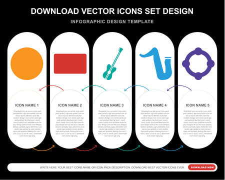 5 vector icons such as Equalizer, Cassette, Bass guitar, Saxophone, Tambourine for infographic, layout, annual report, pixel perfect icon  イラスト・ベクター素材