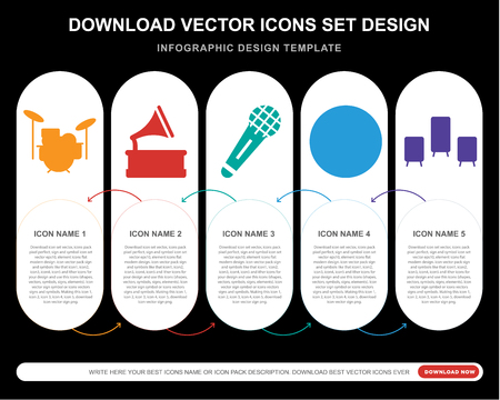 5 vector icons such as Drum set, Gramophone, Microphone, Equalizer, Speaker for infographic, layout, annual report, pixel perfect icon