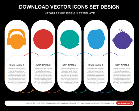 5 vector icons such as Listening smile, Secret Rich Harry potter Happy smile for infographic, layout, annual report, pixel perfect icon Иллюстрация