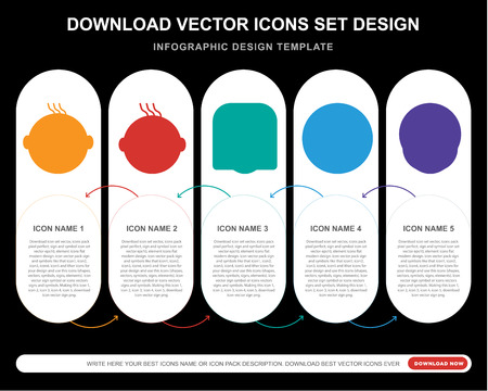 5 vector icons such as Happy smile, Confused Crying Secret Sca smile for infographic, layout, annual report, pixel perfect icon