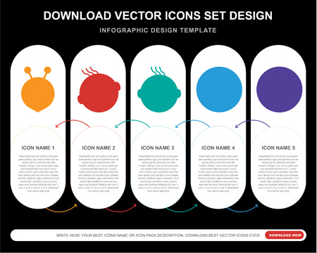 5 vector icons such as Alien smile, Angry Faint Smiling Sick smile for infographic, layout, annual report, pixel perfect icon Illustration