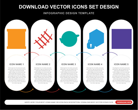 5 vector icons such as Package, Rail, Earth, Cube, Package for infographic, layout, annual report, pixel perfect icon