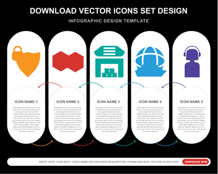 5 vector icons such as Protection, Cube, Warehouse, Ship, Customer service for infographic, layout, annual report, pixel perfect icon Ilustracja