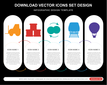 5 vector icons such as Forklift, Package, Exchange, Train, Hot air balloon for infographic, layout, annual report, pixel perfect icon