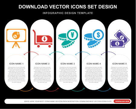 5 vector icons such as Presentation, Cart, Yen, Coin, Notes for infographic, layout, annual report, pixel perfect icon