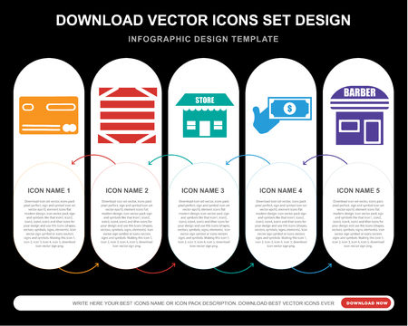5 vector icons such as Cit card, Box, Store, Money, Barbershop for infographic, layout, annual report, pixel perfect icon