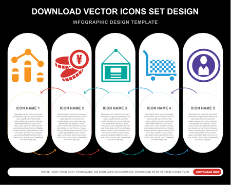 5 vector icons such as Graph, Yen, Presentation, Cart, Coin for infographic, layout, annual report, pixel perfect icon