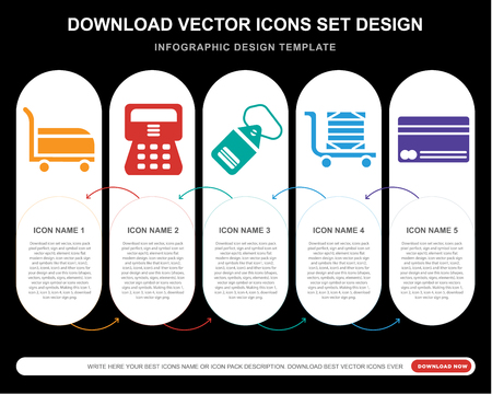 5 vector icons such as Cart, Cashier, Price tag, Delivery cart, Cit card for infographic, layout, annual report, pixel perfect icon