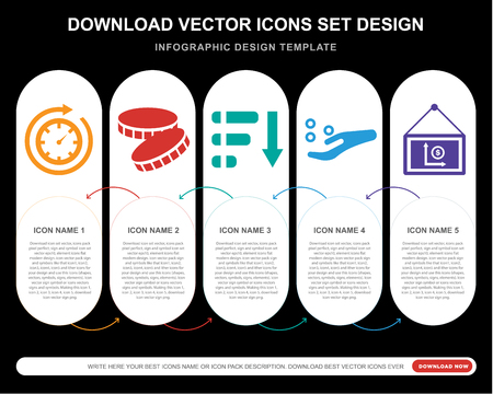 5 vector icons such as Time passing, Coin, Pie chart, Get money, Presentation for infographic, layout, annual report, pixel perfect icon